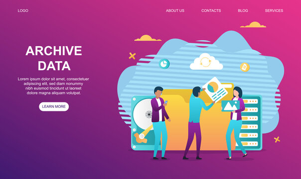 Male and female characters are working on data archive. Business colleagues are collecting all data in big folder together. Website, web page, landing page template. Flat cartoon vector illustration