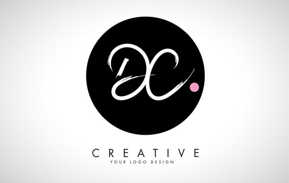 Handwritten DC Brush Letter Logo Design with Black Circle.
