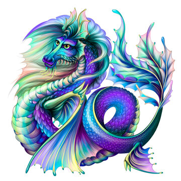 Dragon. Multi-colored, water dragon in watercolor style on a white background. Digital vector graphics.