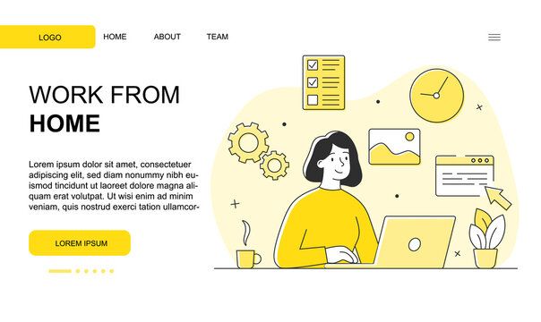 Young female character is working from home. Cheerful woman is working remotely on her laptop from home during quarantine. Website, web page, landing page template. Flat cartoon vector illustration