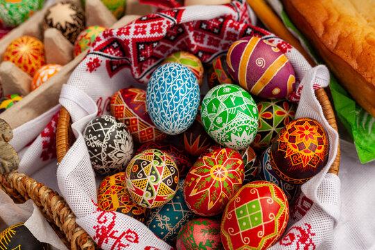 Krasnodar, Krasnodar Krai, Russia 03.24.2019  The ancient pagan festival of Maslenitsa. Easter eggs into national old Russian patterns. Celebration according to ancient traditions.