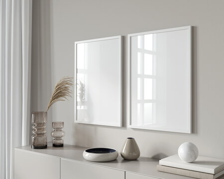 Interior Mockup with two white frames against the background …