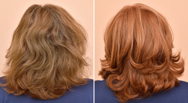 Woman before and after procedure of hair styling in a professional salon. Damaged hair treatment. Hair coloring. Close-up.
