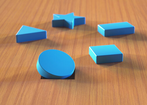 Wrong piece in the hole. Assorted blue blocks on wooden table. Educational toy and psychological test.