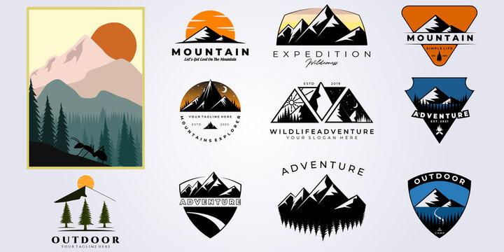 bundle mountain adventure outdoor logo vector set illustration design collection , camping, wild, life, style, hobby, sport
