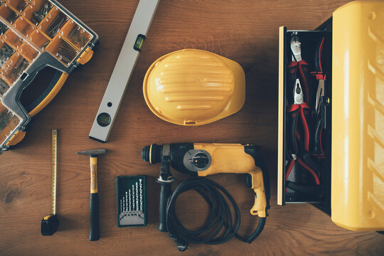 Construction worker tools and equipment