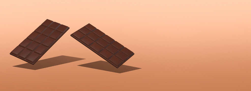 3d render gravity scene..Chocolate bar on gradient background. Choco Cacao lover concept. Minimalistic creative food style art.