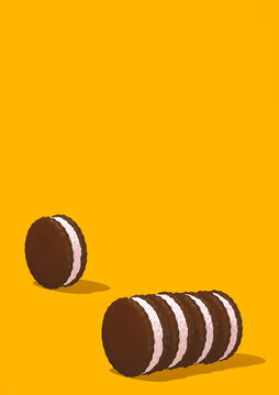 Minimal food 3d render  scene chocolate cookies in isometry yellow room space. Restaurant, bar, candy shop, food delivery concept art.