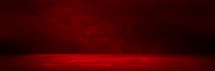 Empty red concrete floor and blurred wall backgrounds, dark room,  interior, use for product display for presentation and cover banner design.