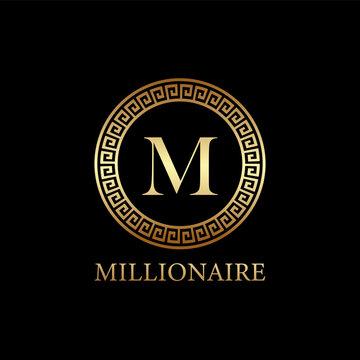 millionaire logo design, icon design template element, lettet m design