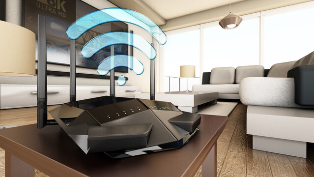 High speed wireless router, modem or range extender inside a modern room. 3D illustration