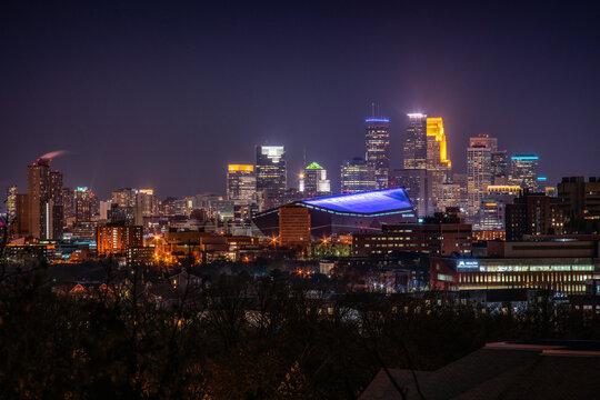 Minneapolis at Night. Downtown Minneapolis Minnesota USA. Skyline After Dark.