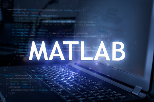 MATLAB inscription against laptop and code background. Learn programming language, computer courses, training.