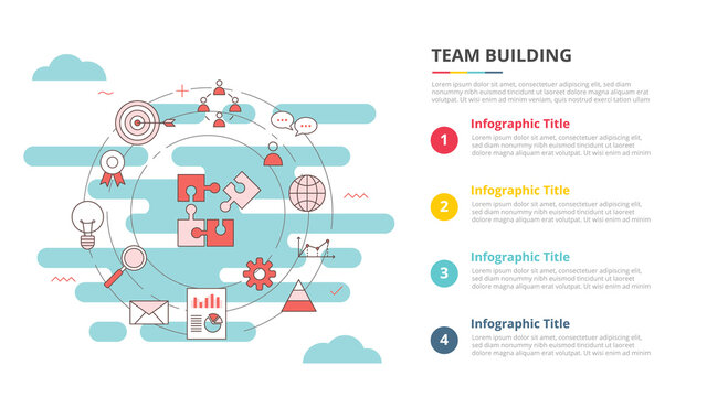 team buiilding concept for infographic template banner with four point list information