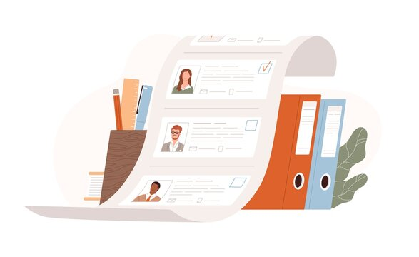 List of candidates for vacancy. HR, human recruiting and hiring concept. Selecting from applicants and searching for staff. Colored flat vector illustration isolated on white background