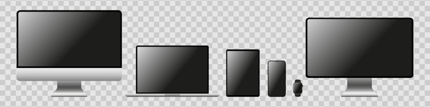 Realistic mockups of Apple devices on isolated background with transparent screens. Vector mockup of phone, tablet, laptop, computer and clock in silver color for your design. Vector EPS 10