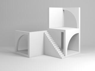 Fototapeta Abstract white architectural installation. Cube blocks obraz