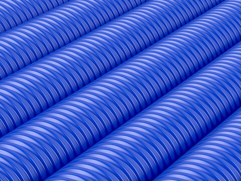 Many rows with blue corrugated pipes