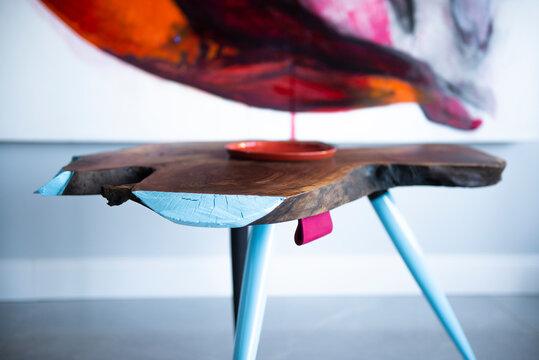 Unique handmade table, detail
