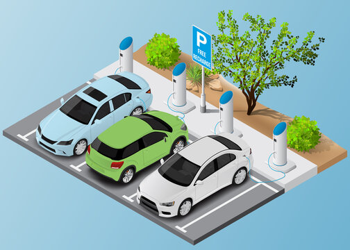 Isometric free electric car parking and charging. Ecological green planet concept.