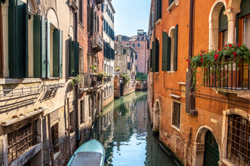 Historic houses over beautiful canals. Venice, Italy