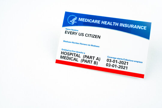 Blank medicare health insurance card isolated on white.