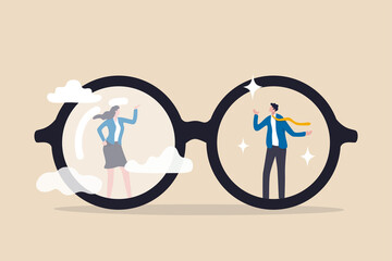 Obraz Gender bias, sexism inequality in workplace and social, prejudice, stereotyping, or discrimination against women concept, eyeglasses with clear vision on businessman and unclear blurry vision on woman - fototapety do salonu