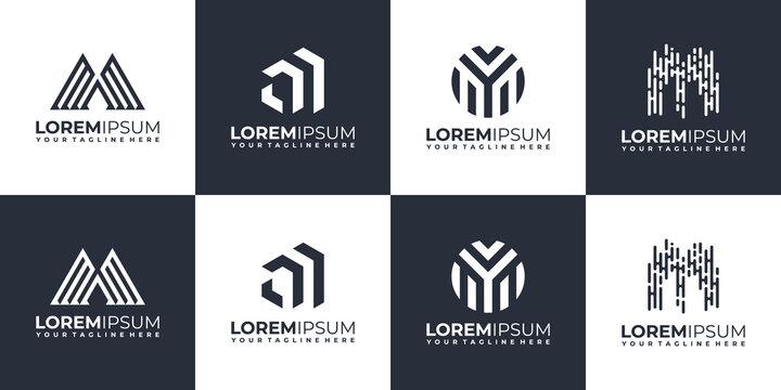 Set of abstract initial monogram m logo design