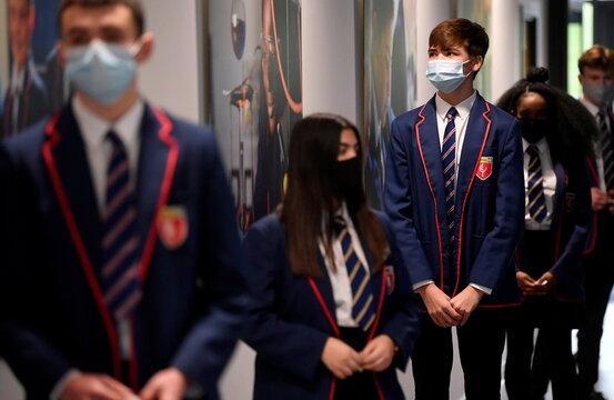 Students take coronavirus disease (COVID-19) tests at Harris Academy Beckenham,  in London