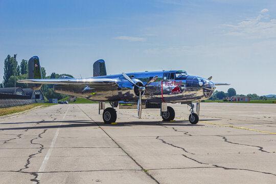 PARDUBICE, CZECH REPUBLIC - May 28, 2016: B25 Mitchell at Pardubice Airshow