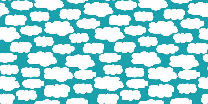Cute vector border with hand drawn irregular fluffy clouds on aqua blue background. Seamless banner with irregular cloud shapes. Dense cumolonimbus design. Ribbon, edging, tape for party, celebration