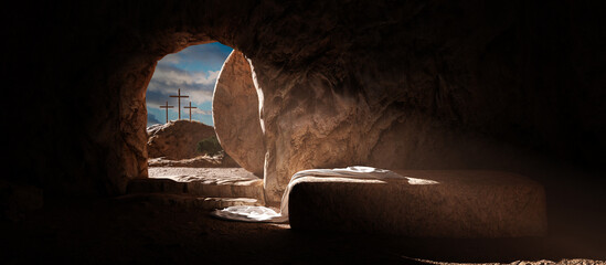 Crucifixion and Resurrection. Empty tomb of Jesus with crosses in the background. Easter or Resurrection concept. He is Risen.
