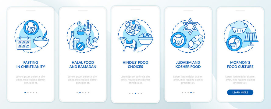 Food choices in different religions blue onboarding mobile app page screen with concepts. Faith walkthrough 5 steps graphic instructions. UI vector template with RGB color illustrations