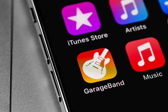 GarageBand icon app on screen iPhone. GarageBand is Apple's music or podcast software for Mac OS X and iOS devices. Moscow, Russia - February 20, 2021