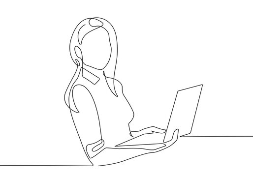 Woman Working Continuous One Line Drawing. Businesswoman and Laptop Outline Drawing. Female Line Abstract Portrait. Minimalist Contour Drawing. Vector EPS 10