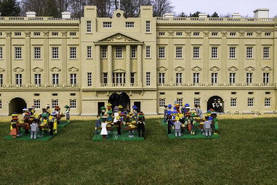 WINDSOR, UNITED KINGDOM - Apr 06, 2018: A Lego Buckingham Palace and garden party