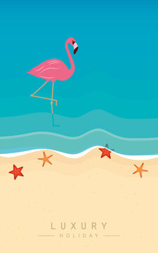 pink flamingo on the beach in turquoise water luxury holiday vector illustration EPS10