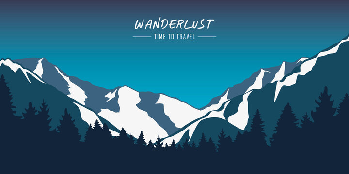 wanderlust snowy mountains and forest blue winter landscape vector illustration EPS10