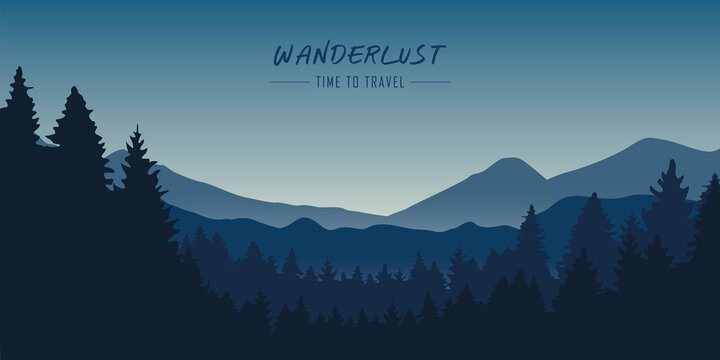 wanderlust wilderness blue mountain nature landscape vector illustration EPS10