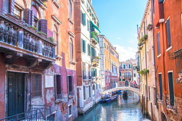View between the canals of Venice, Italy