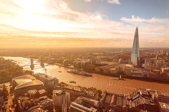 Sunny view of Thames river, Tower bridge, London tower and the Shard, City of London, UK
