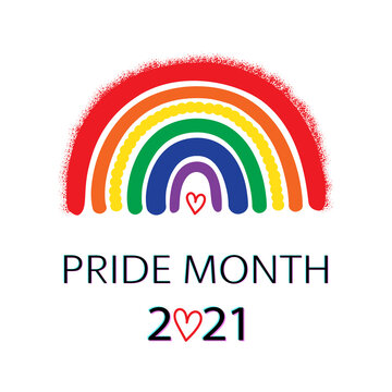 LGBT Pride Month 2021 concept on a white. Rainbow, Freedom flag with heart on white.