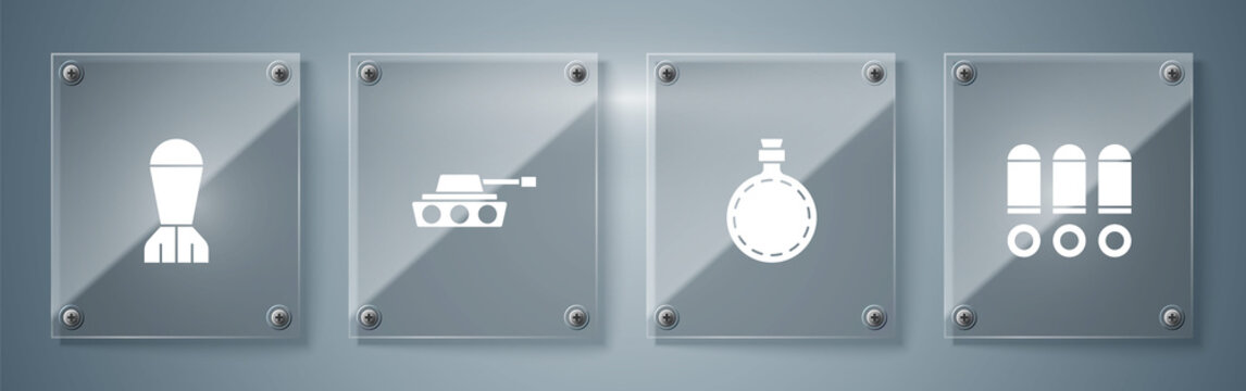 Set Bullet, Canteen water bottle, Military tank and Aviation bomb. Square glass panels. Vector.