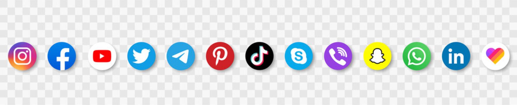 Facebook, twitter, instagram, youtube, snapchat, pinterest, whatsap, periscope, tiktok ,viber - Collection of popular social media logo. Social media icons. Editorial vector. Vector illustration.
