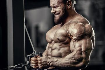 Bodybuilder handsome strong athletic good looking man pumping up muscles workout fitness and bodybuilding healthy concept background - muscular fitness men doing arms exercises in gym naked torso