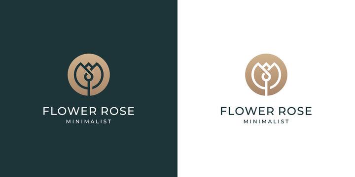 Luxury rose flower logo design