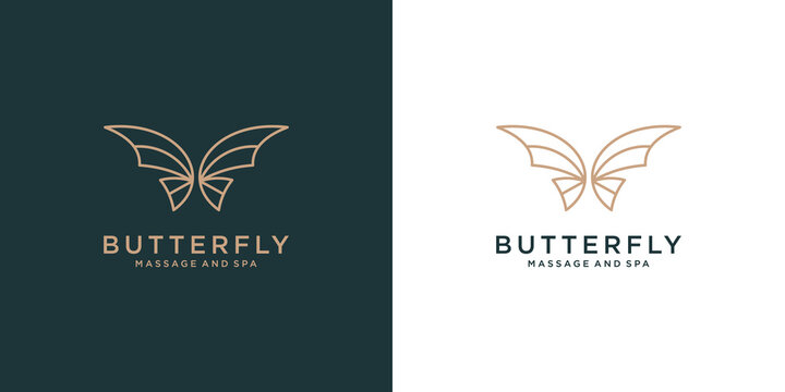Luxury Butterfly logo design icon