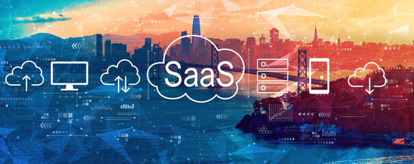 SaaS - software as a service concept with aerial view of the Bay Bridge in San Francisco - fototapety na wymiar