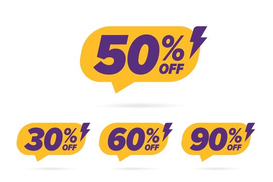 Price off selling banner with different percentage value. Flat 50, 30, 60, 90 sale speech bubble label with lightning bolt decoration, shock clearance, cheap shopping announcement vector illustration