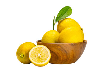 Fototapete - Lemons whole and half with leaves in wooden bowl on white background with clipping path.